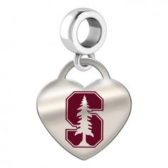 Stanford Cardinal Color Heart Dangle