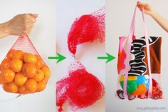 Rather than throwing out the mesh bags that fruits are sometimes bundled in, what about a nifty re-purpose into a beach bag or other bags like toy totes, budding artist totes, etc.