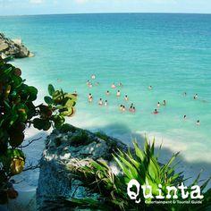 La playa de la zona arqueológica de Tulum, Riviera Maya,México.