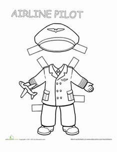 Second Grade Paper Dolls Worksheets: Pilot Paper Doll