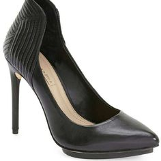 """BCBG MAXAZRIA BLACK ABBOTT PUMP Size 8.5 $225 Brand new with the box and duster..?  A curvy, channel-quilted topline amps up the sultry effect of a svelte pointy-toe pump shaped from supple leather and set on a slender stiletto heel.?  4 1/2"""" heel; 1/2"""" platform (size 8.5).?  Leather upper/synthetic lining/leather and rubber sole.?  By BCBGMAXAZRIA; imported. BCBGMaxAzria Shoes Heels"""
