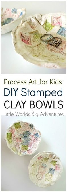 Kid Stamped Clay Bowls: a Fun Process Art Activity for Toddlers and Preschoolers | Little Worlds Big Adventures