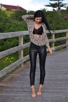 love the flowey top with the leather pants- very nice.