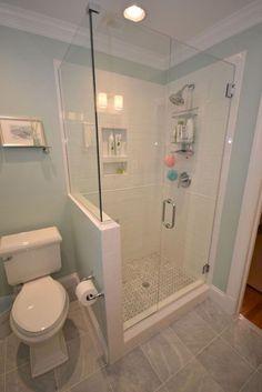 60 Luxury Small Bathroom Shower Remodel Ideas - Page 12 of 63 Small Bathroom With Shower, Tiny House Bathroom, Bathroom Renos, Bathroom Layout, Bathroom Renovations, Shower With Half Wall, Bathroom Cabinets, Bathroom Mirrors, Bathroom Makeovers