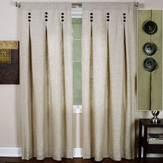 Interior. beige canvas curtain on white wooden glass window with black button ornaments hanging on chrome metal curtain rod. Alluring Curtain Styles For Windows To Sweetened Your Room