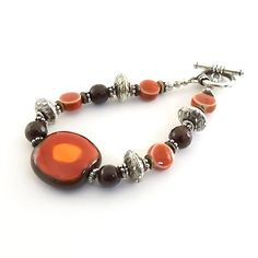 Bracelet Kazuri Brown Red and Orange With by CinLynnBoutique, $25.00