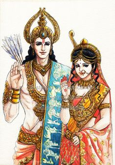 Lord Rama and Lady Sita (Sankat Mochan Mahabali Hanumaan) Lord Krishna Images, Radha Krishna Pictures, Bal Krishna, Krishna Art, Lord Rama Images, Sita Ram, Lord Shiva Painting, Indian Art Paintings, Durga Goddess