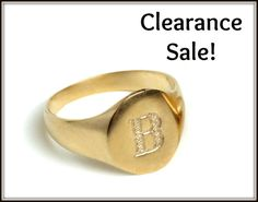 "CLEARANCE SALE, Unisex ring, Engraved Letter - ""B"", US Size 5, 14K Gold plated, Personalized monogram signet ring, Holiday gift idea"