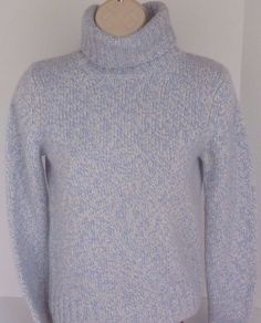 Ann Taylor Womens XS 100% CASHMERE Blue White Turtle Neck Super Soft Sweater…