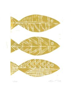 SALE LIMITED EDITION Three Tribal Fish Nautical Illustration Art Block Print 8 x 10 Home Decor / Gold, Silver / Hand Pulled Linocut via Etsy