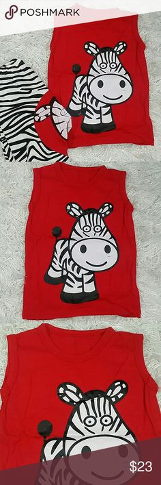 Red Zebra 2 pc set. Kids Adorable and comfortable 2 pc set of shorts and matching top with a cute zebra design.  Very cute item.  This item is brand new and never used. Matching Sets