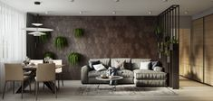 weiss grau beige wohnzimmer sofa raumteiler pflanzen
