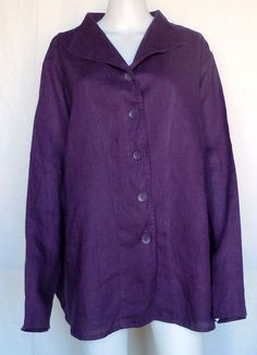 FLAX NEUTRAL TWO Shapely Jacket, Plum Linen, 3G (3X), NWOT #Flax #BasicJacket