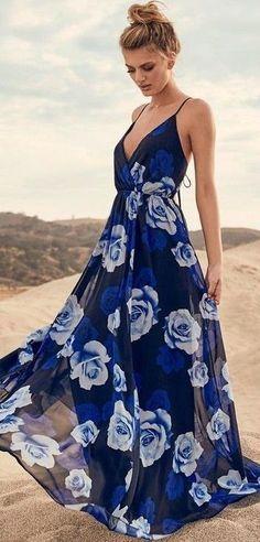 #summer #lulus #fashion   Rose Print Maxi Dress