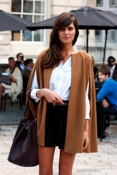 LOVE THIS /// cape + white button up + black shorts = classic