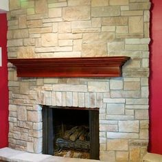Stone Fireplaces And Wood Mantels