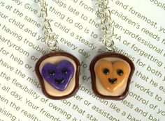Fancy - Handmade Heart Peanut Butter and Jelly Best Friends Necklaces