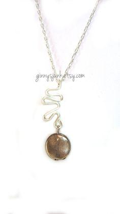 Handmade Wire Pendant Necklace  16 Inch Chain  OOAK by GinnysJunk