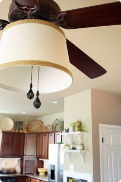 Turn an ordinary ceiling fan into a beautiful lighting piece by adding a drum shade! See how at Thrifty Decor Chick! Living Room Ceiling Fan, Ceiling Fans, Decorative Lamp Shades, Ceiling Fan Makeover, Ceiling Fan Redo, Thrifty Decor Chick, Drum Shade, Home Lighting, Houses