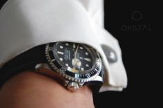 Rolex Submariner 1680 with OKSTAL shirt equipped with self holding and assymmetrized french style watchcuff