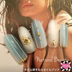 ネイル 画像 Natural Beauty 赤坂 1569371 青 白 エスニック チーク ストライプ 夏 リゾート 海 ソフトジェル ハンド ミディアム
