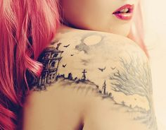 the pink hair & grave yard tattoo are beyond sick Picture Tattoos, Cool Tattoos, Awesome Tattoos, Creepy Halloween, Halloween 2014, Ink Link, Pink Hair, Landscape Tattoo, Charlotte Nc