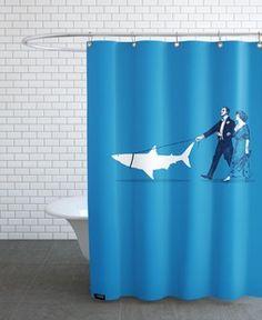 Walking The Shark - Rob Snow | Creative - Shower Curtain gift | female | shark | ideas | inspiration