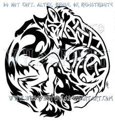 Tribal Wolf + Knotwork Fox Design by WildSpiritWolf