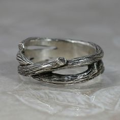 Custom Made Sterling Silver Leaf And Twig Band Ring Tree Branch