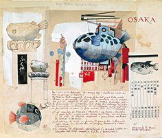 overlap small drawings and one larger focus drawing (Urban Sketchers: Stefano Faravelli in Japan) Voyage Sketchbook, Travel Sketchbook, Artist Sketchbook, Artist Journal, Art Journal Pages, Art Journals, Visual Journals, Travel Journals, Moleskine