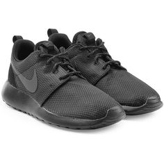 Nike Roshe One Sneakers (117 AUD) ❤ liked on Polyvore featuring shoes, sneakers, black, nike shoes, lace up sneakers, round toe sneakers, nike and mesh shoes
