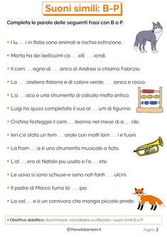 Schede Didattiche su B-P da Stampare | PianetaBambini.it Italian Language, Learning Italian, New Years Eve Party, Elementary Schools, Improve Yourself, Education, Speech Language Therapy, Reading, Photo Illustration