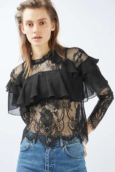 Lace frill long sleeve blouse in black. #Topshop