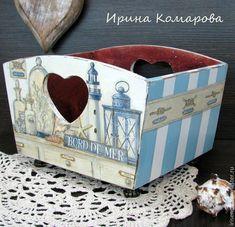 """Купить """"Морской"""" короб - голубой, морской стиль, короб для хранения, дерево, подарок девушке"""