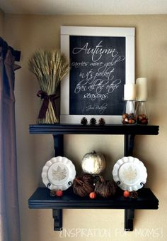 DIY Autumn Decorated Shelves (with free chalkboard Autumn quote)