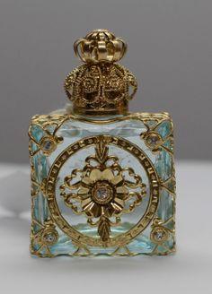 Exclusive Vintage Czech Handmade Perfume Oil Bottle Gold Tone w Faux Diamonds | eBay