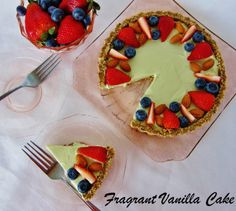 Raw Matcha Almond Tart with Berries from Fragrant Vanilla Cake