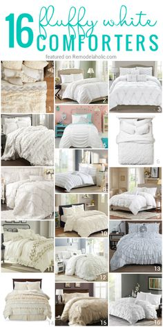 These 16 comfortable fluffy white comforters and duvets make the perfect bedding for a comfortably chic bedroom White Crib Bedding, Crib Bedding Sets, Comforters, Fluffy Comforter, Fluffy White Bedding, Colorful Bedding, Reading Nook, New Room, Master Bedrooms