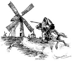Don Quixote and Sancho Panza set out to search for Dulcinea and experience a number of adventures. While these adventures will seem like failures to a three-dimensional, complex man, to the two-dim. Gustave Dore, Man Of La Mancha, Dom Quixote, Agent Of Change, Ex Libris, Windmill, Caricature, Wind Turbine, Lettering