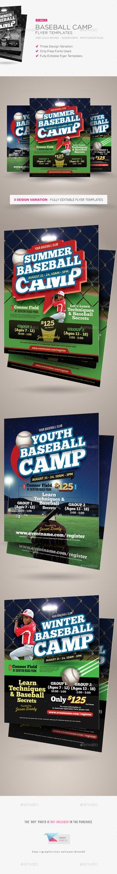 Baseball Camp Flyer Templates  #junior #camp #clinic • Click here to download ! http://graphicriver.net/item/baseball-camp-flyer-templates/14221231?ref=pxcr