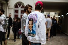 Here's another street style, this time shot at the COMME des GARÇONS Trading Museum where Gosha Rubchinskiy held a book signing for 'The Day of My Death.'