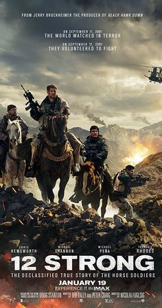 12 Strong is a movie starring Chris Hemsworth, Michael Shannon, and Michael Peña. 12 Strong tells the story of the first Special Forces team. Latest Movies, New Movies, Movies To Watch, Good Movies, Film Watch, Movies Free, Drama Movies, Hd Movies Online, 2018 Movies