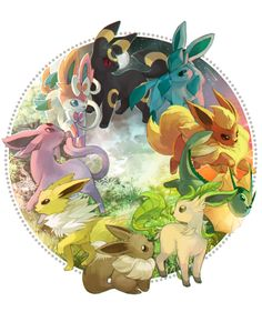 preoprix:  In Pokémon X, I named all my eeveelutions after times of the day! Dawn (Sylveon), Morning (Espeon), Midday (Jolteon), Day (Eevee), Afternoon (Leafeon), Evening (Vaporeon), Dusk (Flareon), Night (Glaceon), and Midnight (Umbreon)! So of course I had to draw them. uvu <3 I like themed nicknames for these guys!