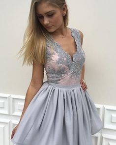 New Arrival 2017 Homecoming Dresses,Grey Homecoming Dresses,V-neck Lace Hoco Dresses,Short Prom Dresses sold by lasedress. Shop more products from lasedress on Storenvy, the home of independent small businesses all over the world. Grey Party Dresses, Elegant Homecoming Dresses, Grey Prom Dress, Dresses Short, Short Lace Dress, Hoco Dresses, Plus Size Prom Dresses, Party Gowns, Bridesmaid Dresses