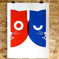 Dueling Watson the Cat - Hand Silkscreen Print  $24
