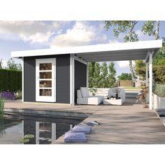 """Moderne Flachdach-Optik • Elegantes """"wekaLine"""" Profil ✓ Weka Holz-Gartenhaus wekaLine Anthrazit 210 cm x 205 cm mit Anbau 300 cm jetzt bei OBI kaufen!"""