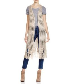 Cliche' Long Crochet Duster Vest - Compare at $80 | Bloomingdale's