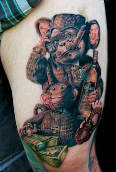 Weird monkey tattoo by Cecil Porter - Done with Fusion Ink, The Dragonfly Tattoo Machine and needles from The Glove for the Artist. Funny Tattoos, Great Tattoos, Life Tattoos, Beautiful Tattoos, Body Art Tattoos, Awesome Tattoos, Beautiful Body, Tatoos, Monkey Tattoos