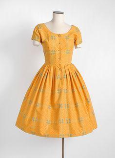 HEMLOCK VINTAGE CLOTHING : 1950s Gretta Plattry cotton floral dress
