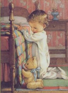 Child saying prayers before bedtime illustration. with a teddy bear Vintage Prints, Vintage Art, Vintage Pictures, Cute Pictures, Kind Photo, Prayers For Children, Vintage Children, Art Children, Belle Photo